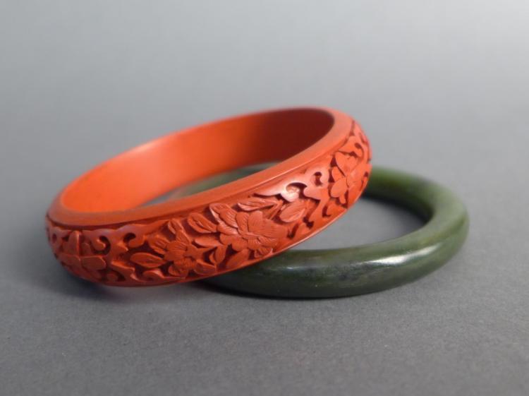 Two Hardstone Bangle Bracelets