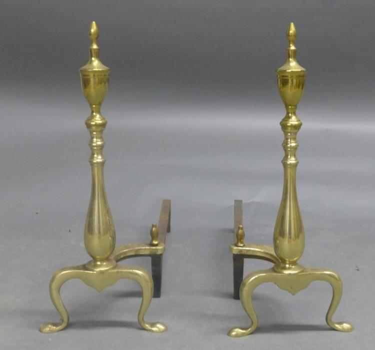 Pair Brass and Iron Andirons