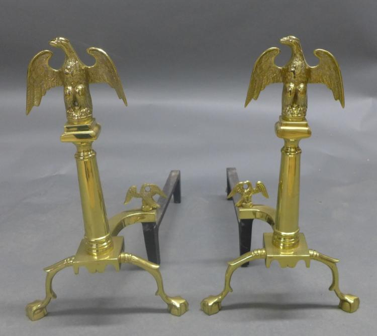 Pair Colonial Style Brass and Iron Andirons