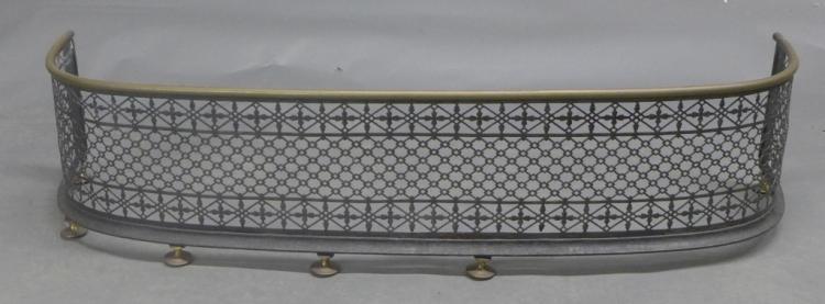 Pierced Metal & Brass Fireplace Fender