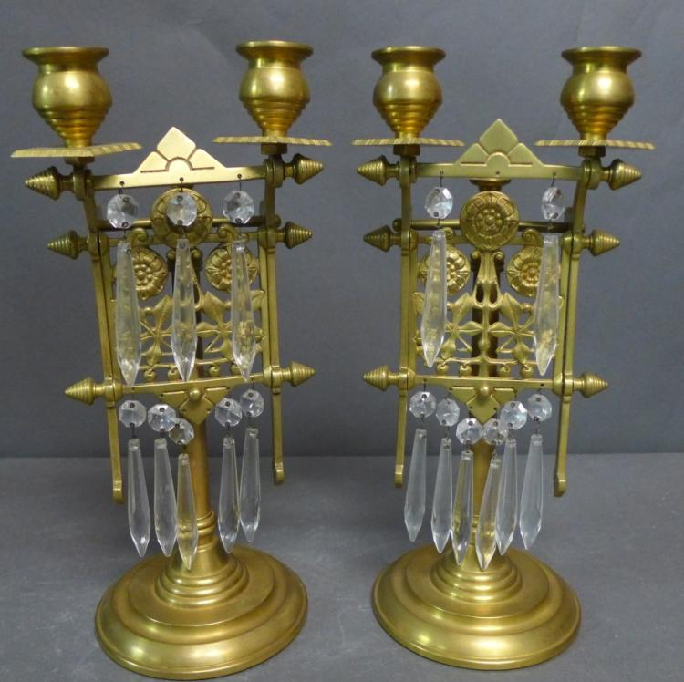 Two Victorian Cast-Brass Two-Light Candelabra