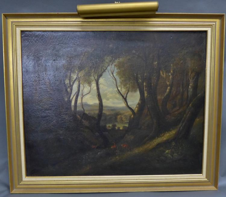 Antique Wooded Landscape Painting