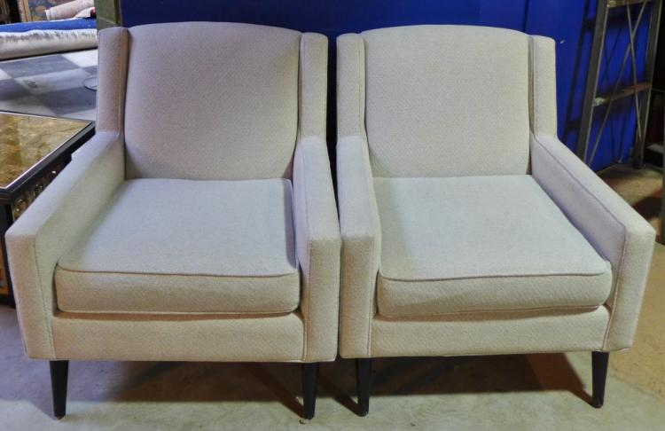 Pair Upholstered Lounge Chairs