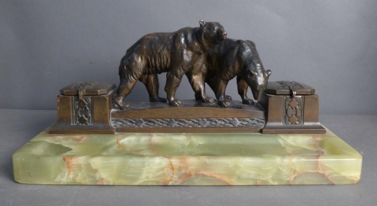 Bronze & Onyx Figural Inkwell