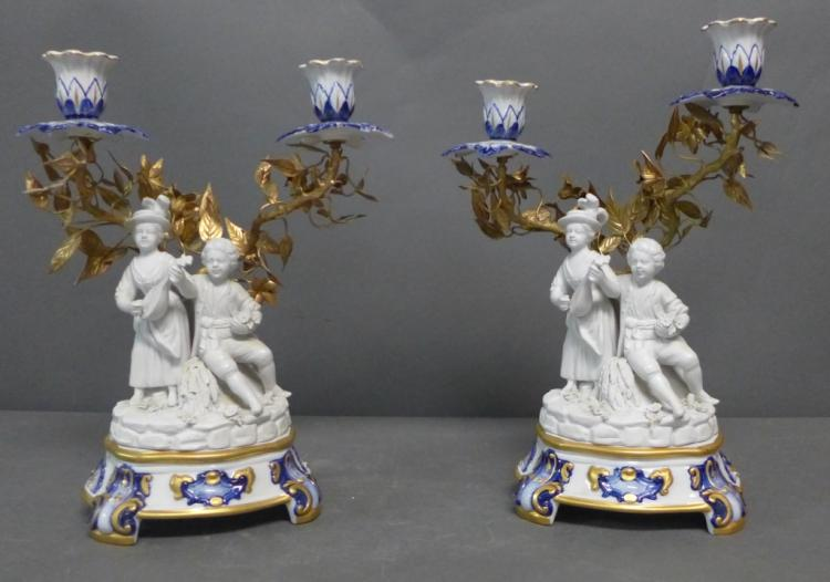 Pair of Sevres Figural Double Candle Holders