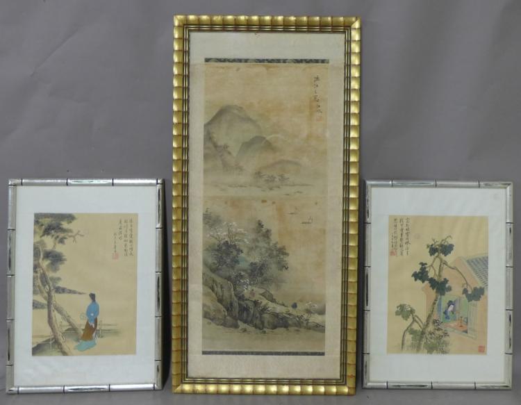 3 Japanese Figural Landscapes
