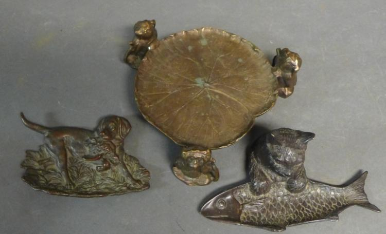 Grouping of Bronze Figural Desktop Accessories