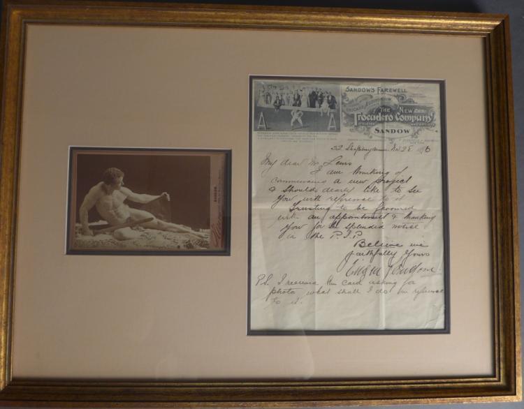 Eugene Sandow Hand-Written Letter 1896
