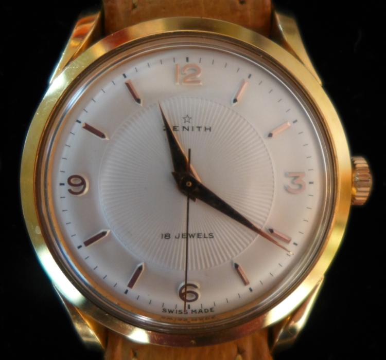 Men's Zenith 1950's Rose Gold Plate Wrist Watch