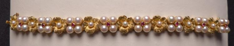 Ruby, Pearl and 14K Gold Bracelet