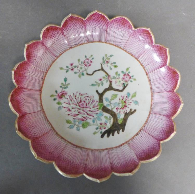 Famille Rose Lotus Scalloped Dish