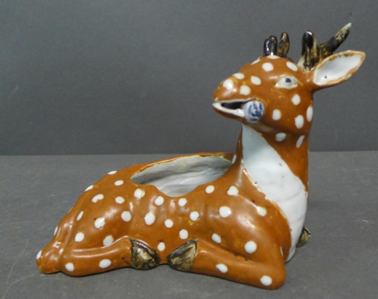Chinese Porcelain Sculpted Deer Brush Wash