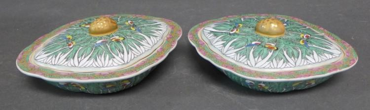 Pair Rare Covered Cabbage Leaf Dishes