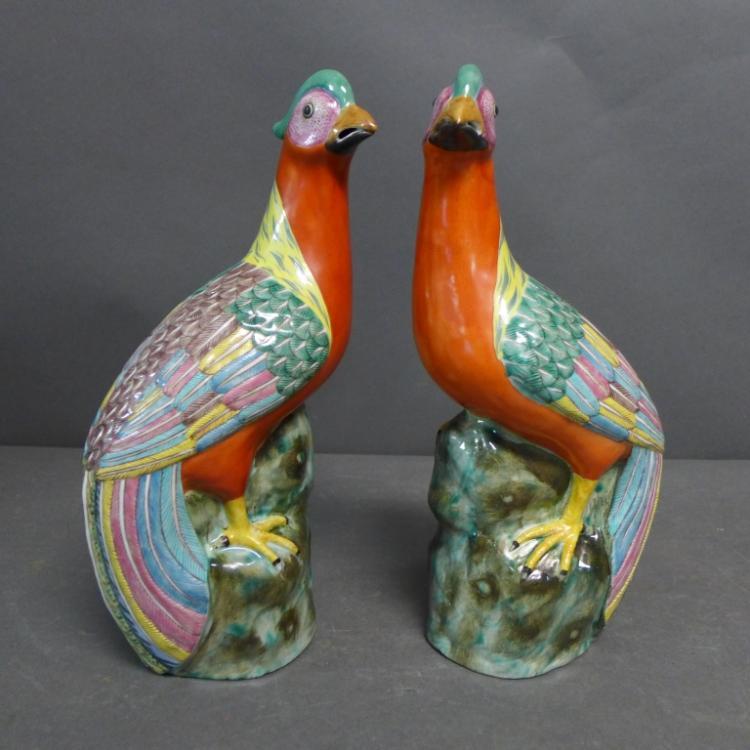 Pair Chinese Porcelain Pheasants
