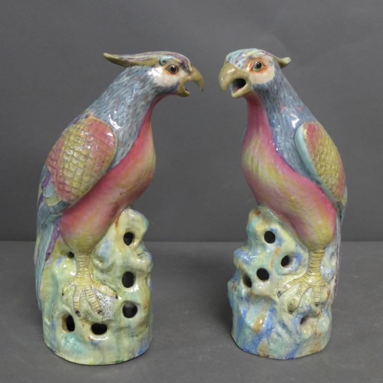 Pair Chinese Porcelain Hawks Figures