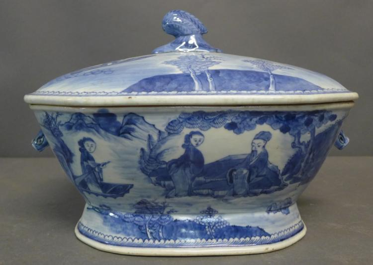 Antique Blue and White Canton Soup Tureen