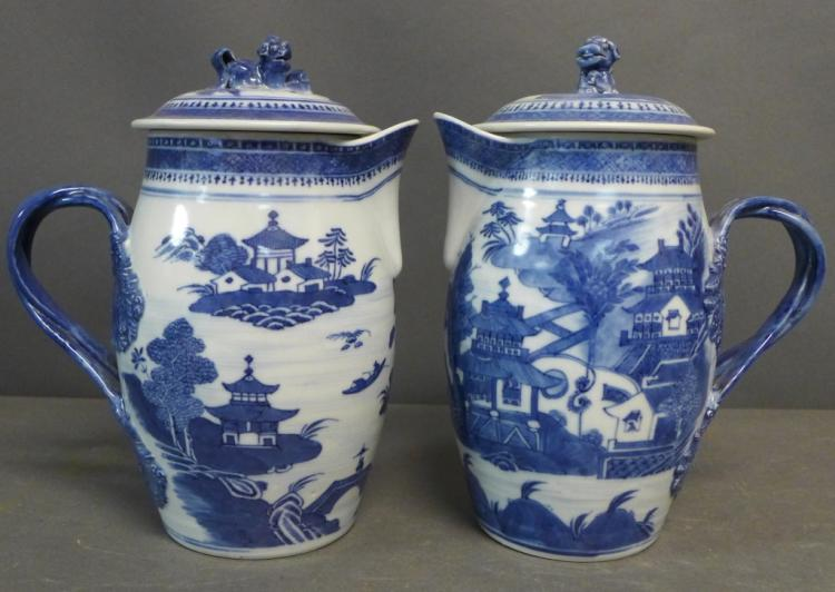 Pair Antique Nanking Cider Jars