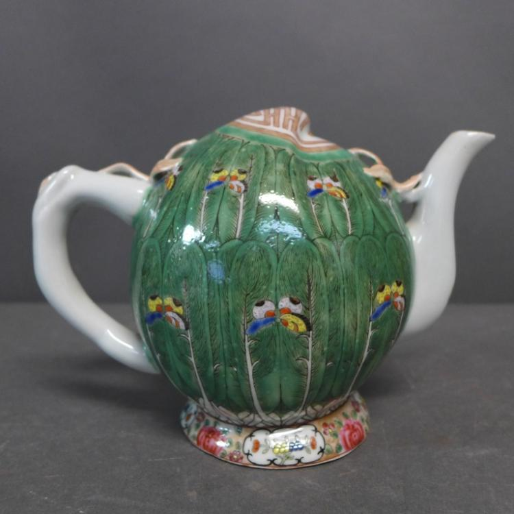 Green Cabbage Leaf Cadogan Teapot