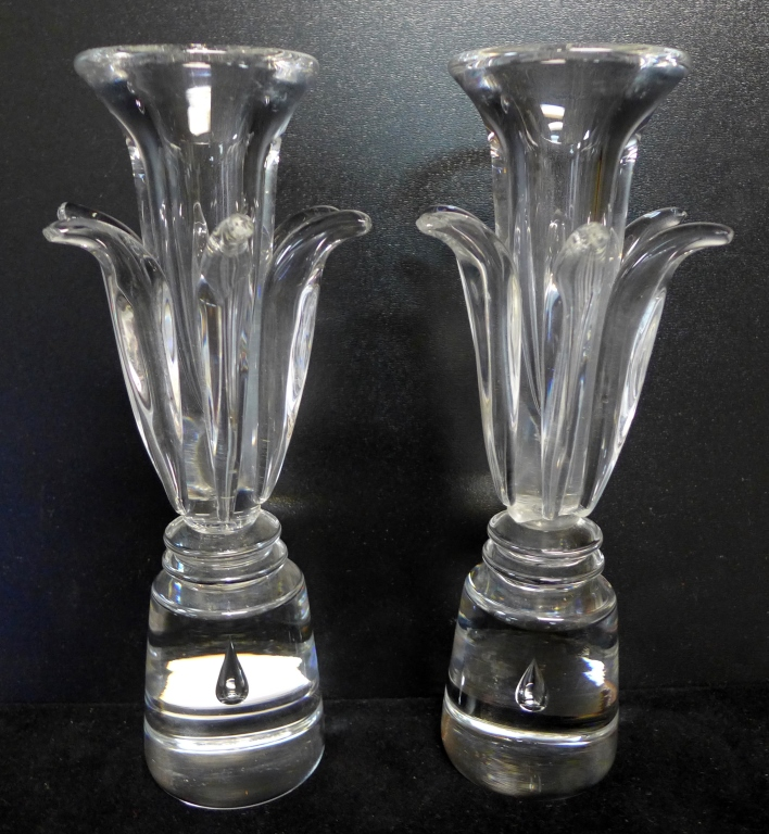 Pair Steuben Glass Floriform Candlesticks