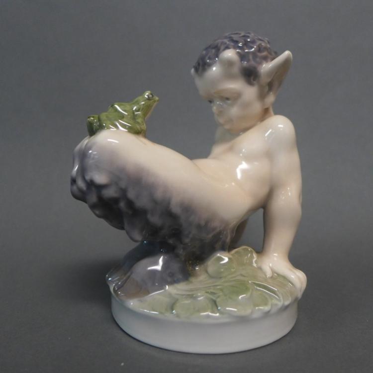Royal Copenhagen Denmark Porcelain Faun w/ Frog