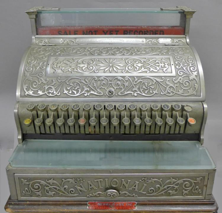 Antique Nickel over Bronze NATIONAL Cash Register