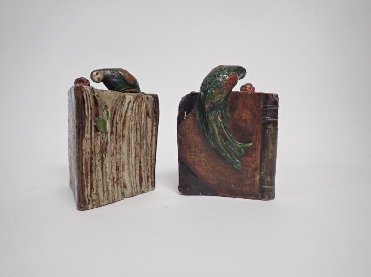 Pair of German 'Parrot on a Book' Bookends