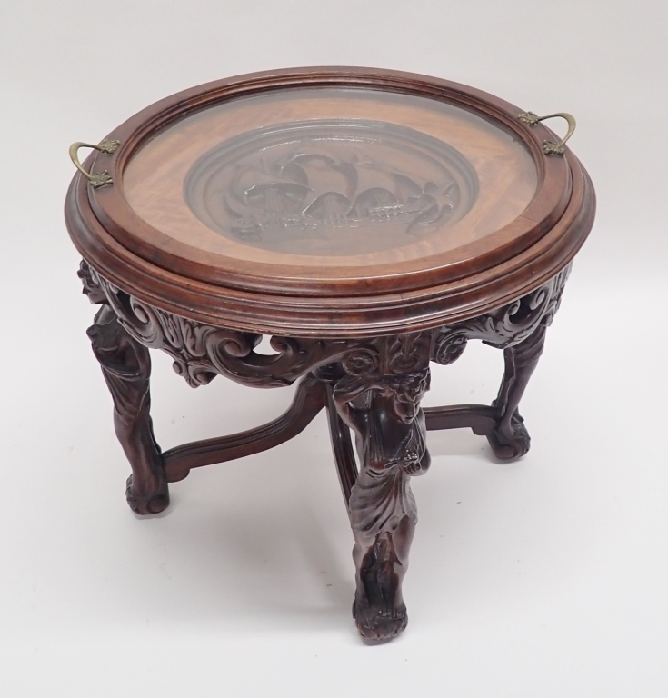 Vintage Nautical Carved Walnut Tray Table