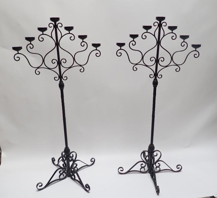 Pair of 5' Tall Iron Floor Candelabras