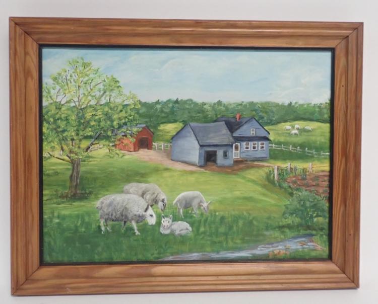 Signed Farm Landscape Oil Painting