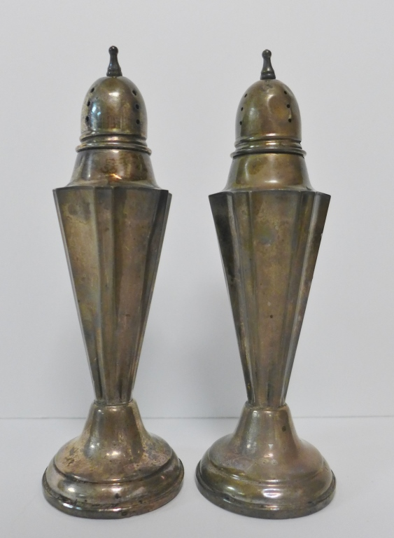 Antique LR Sterling Weighted Salt & Pepper Shakers