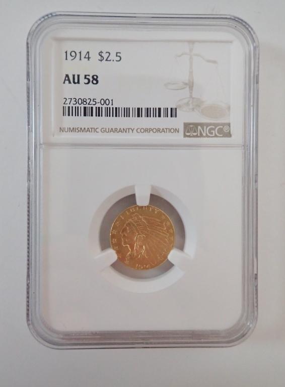 1914 US $2.5 Dollar Indian Head / Eagle Gold Coin