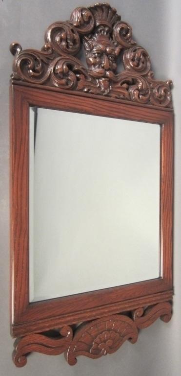 Victorian Gothic Revival Oak Mirror