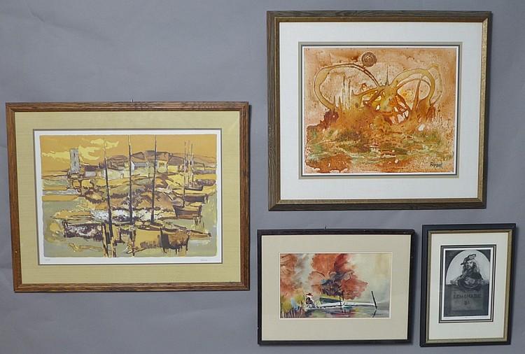 collection of 4 art works. Black Bedroom Furniture Sets. Home Design Ideas
