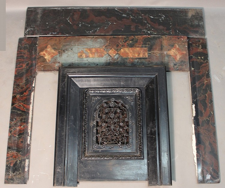 Antique Cast Iron Fireplace Insert And Surround