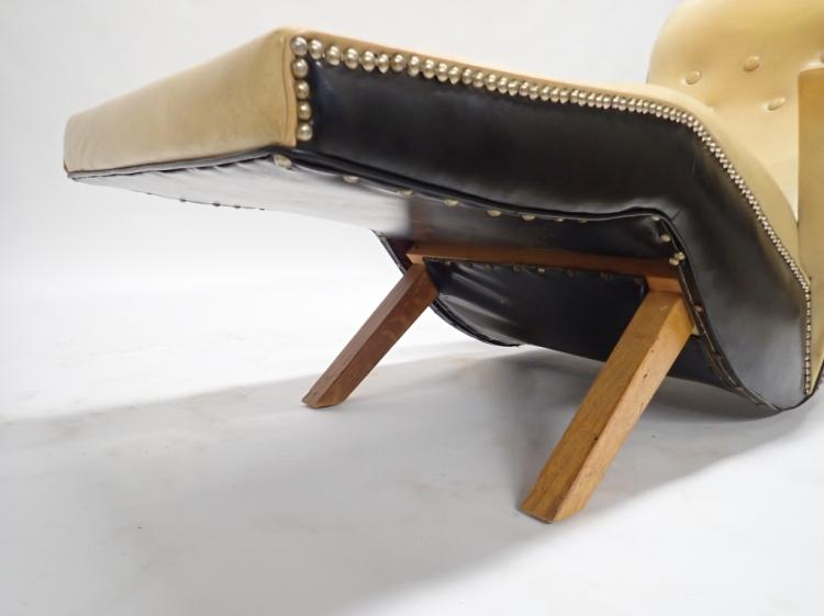 Art deco rocking chaise leather lounge chair for Bellagio 100 leather chaise