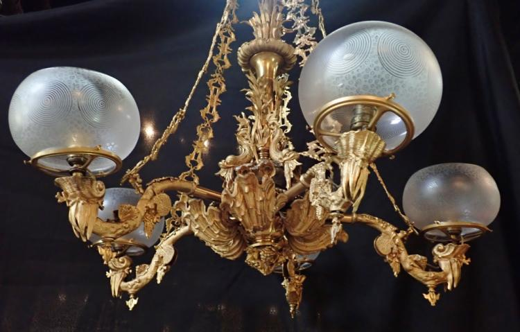 Five Arm Gilt Metal Gasolier Etched Glass Shades