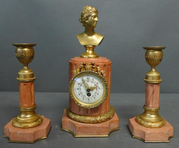 3 Piece French Pink Marble Clock Garniture Set