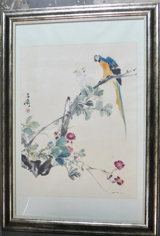 Chinese Aviary and Floral Watercolor Painting