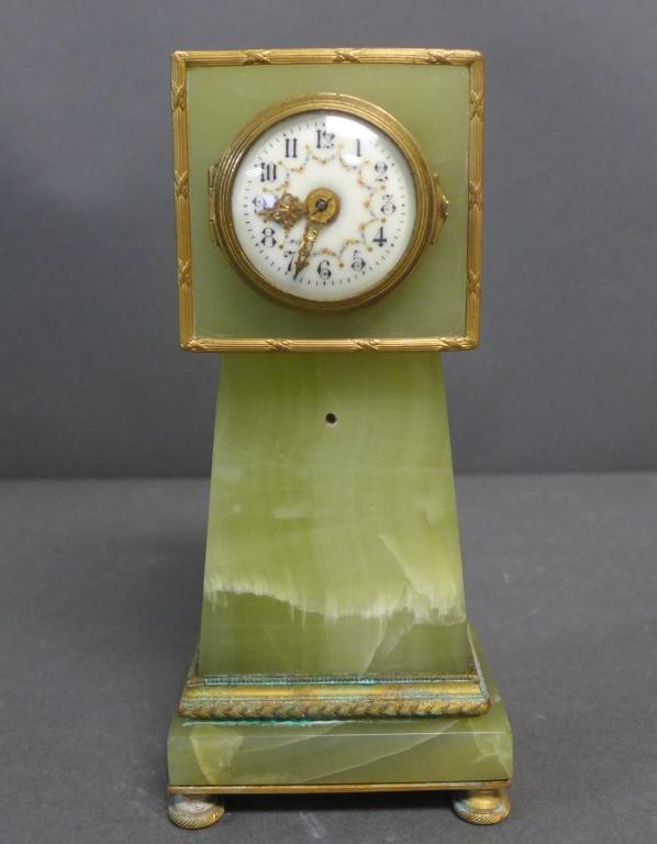 Antique Petite Onyx Plinth Clock