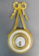 French White Marble & Gilt Bronze Cartel Clock