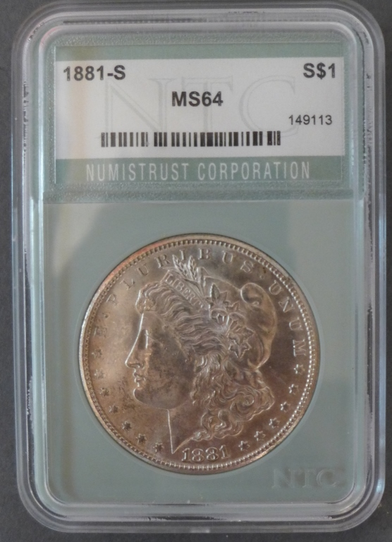 1881 S Morgan Silver Dollar, Graded MS64