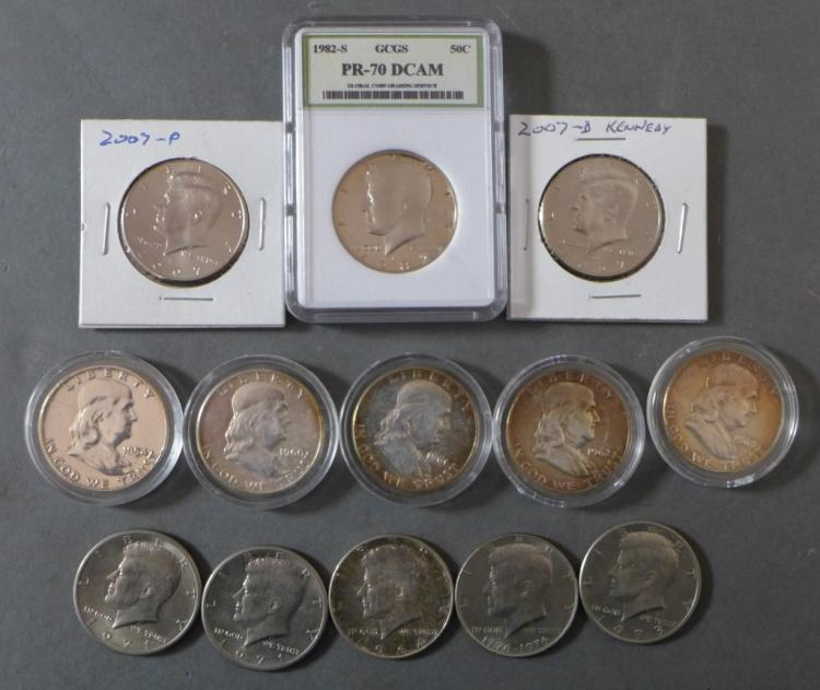 Selection of 13 Kennedy & Franklin Half Dollars