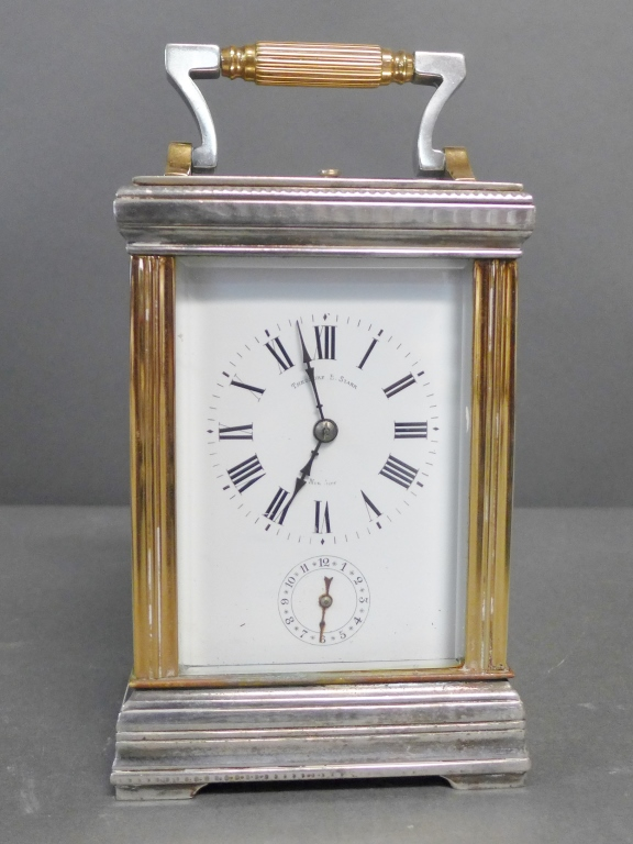 Silvered and Gilt Carriage Repeater Clock