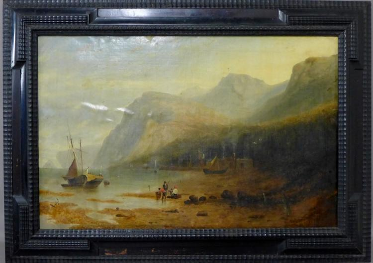 Large Antique Seascape Painting