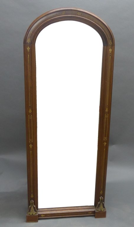 Antique Mahogany & Gilt Floor Mirror