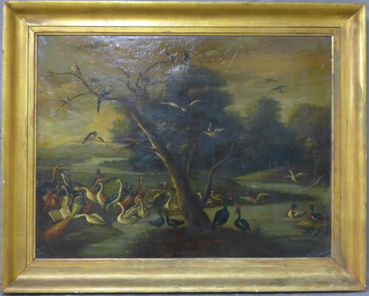 Signed Antique Aviary Landscape Painting