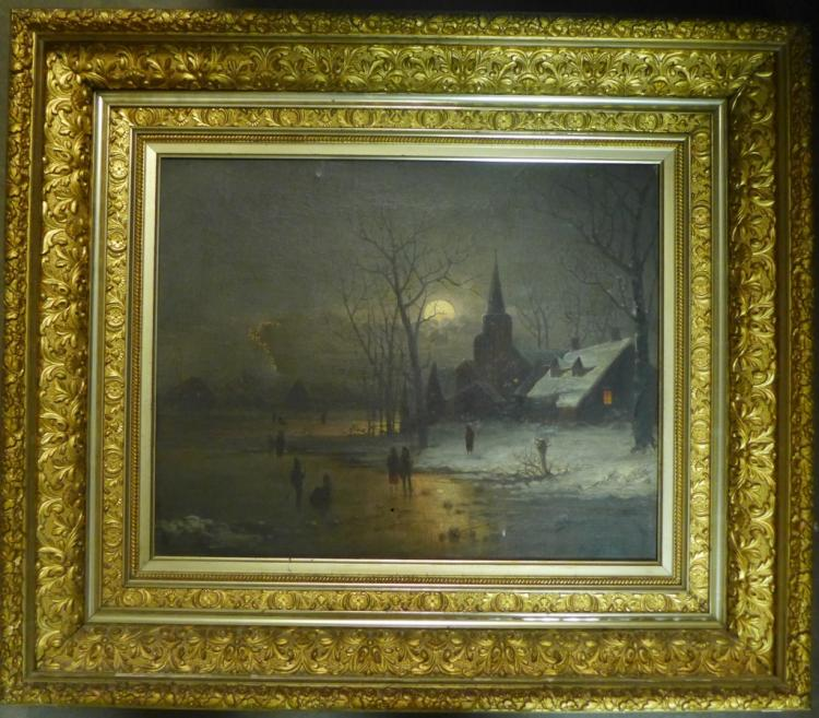 Signed Antique Dutch Figural Winterscape Painting
