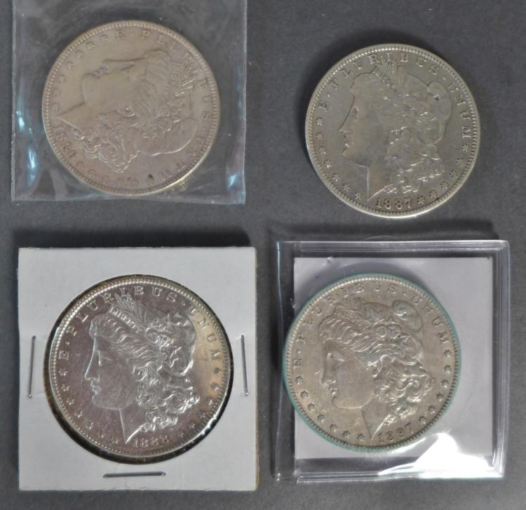 Selection of Four Morgan Silver Dollars, 1886-1897