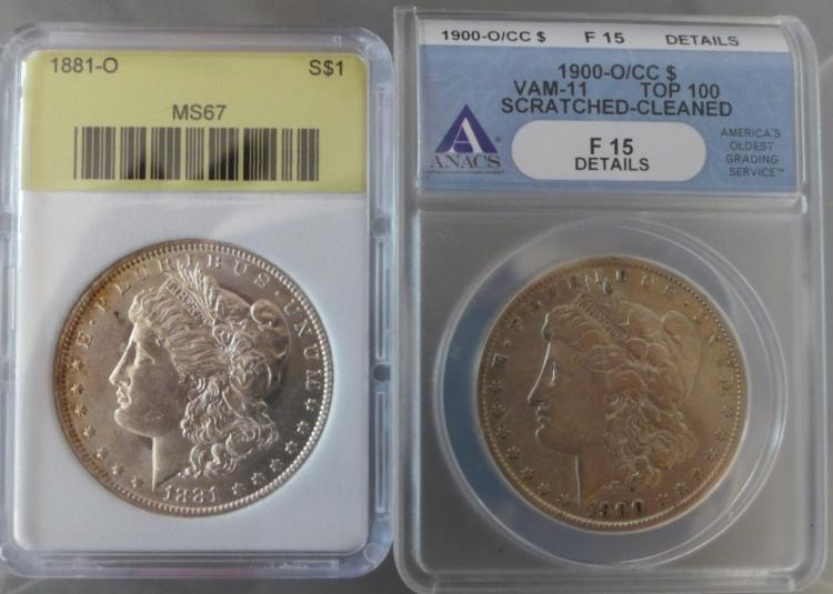 Two Graded Morgan Silver Dollars