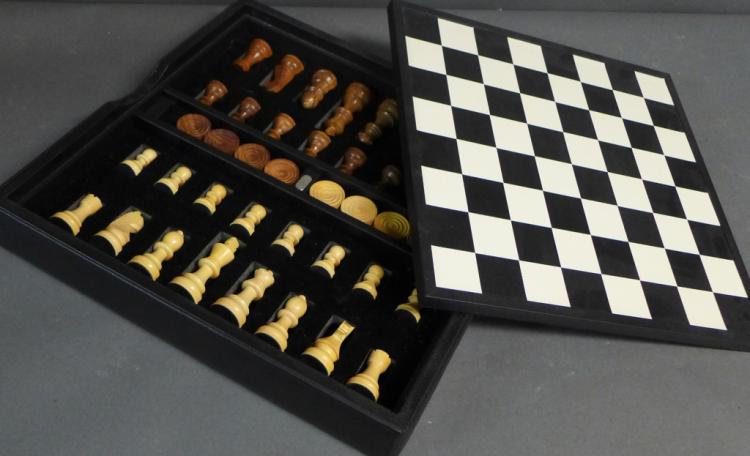 Renzo Black Leather and Wood Chess Set